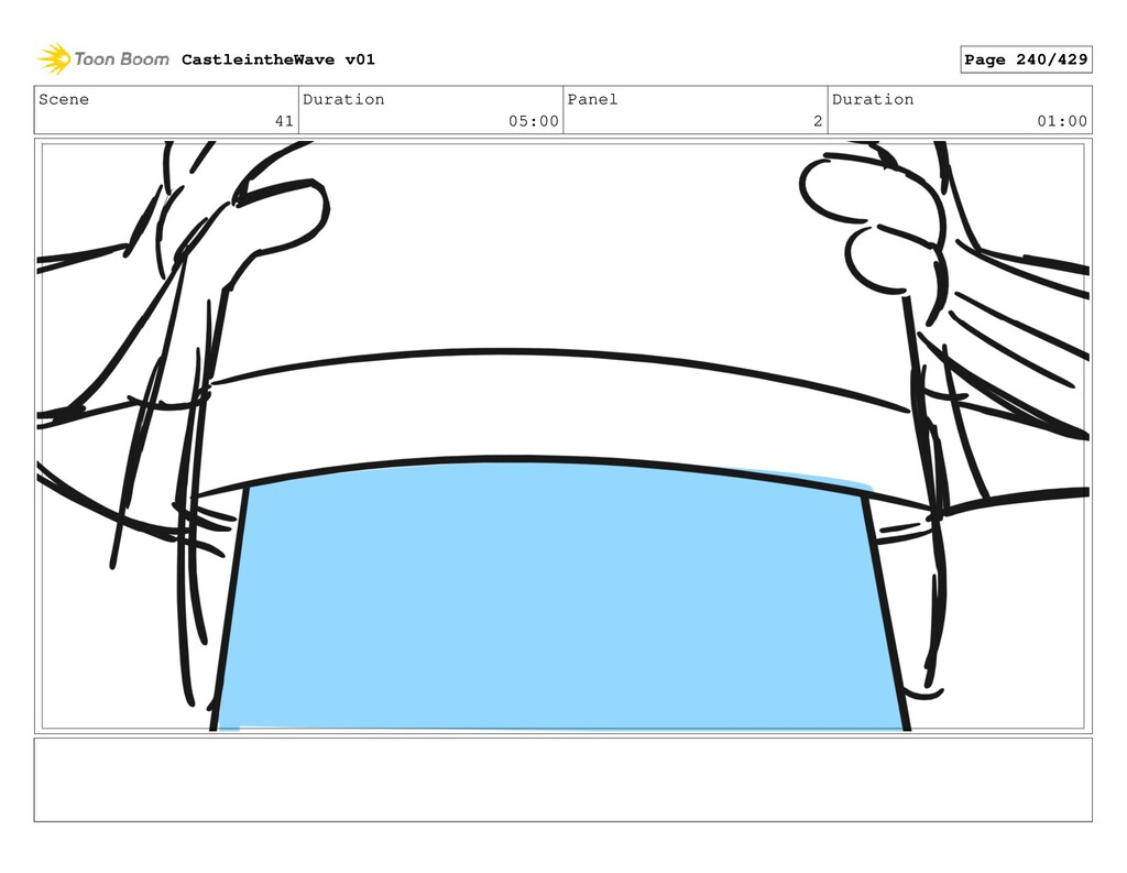 Scene 41 Duration 05:00 Panel 2 Duration 01:00 ...