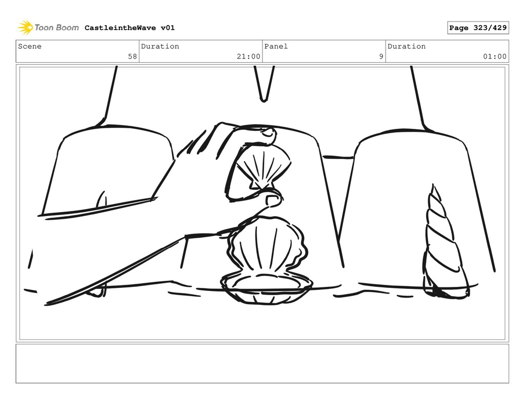 Scene 58 Duration 21:00 Panel 9 Duration 01:00 ...