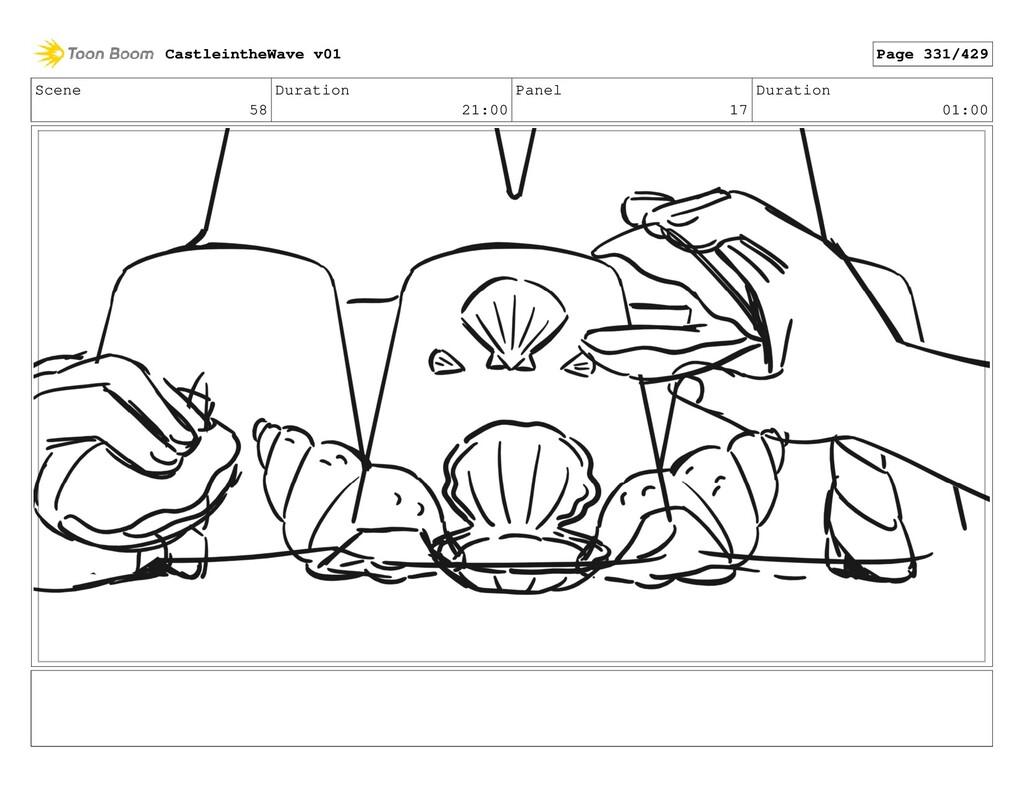 Scene 58 Duration 21:00 Panel 17 Duration 01:00...