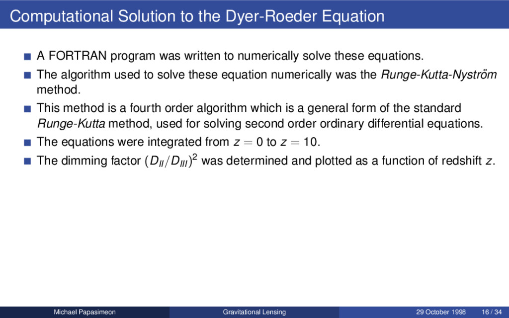 Computational Solution to the Dyer-Roeder Equat...