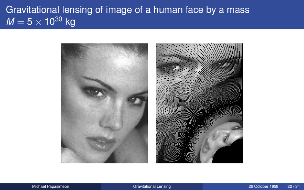 Gravitational lensing of image of a human face ...