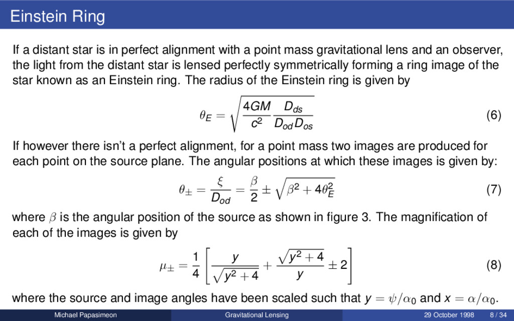 Einstein Ring If a distant star is in perfect a...
