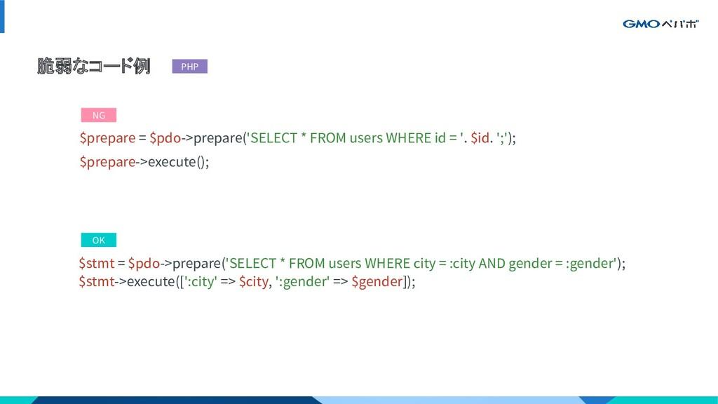 脆弱なコード例 $stmt = $pdo->prepare('SELECT * FROM us...