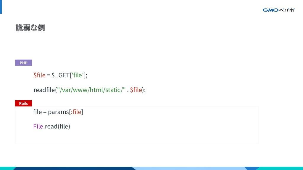 """脆弱な例 $file = $_GET['file']; readfile(""""/var/www/..."""