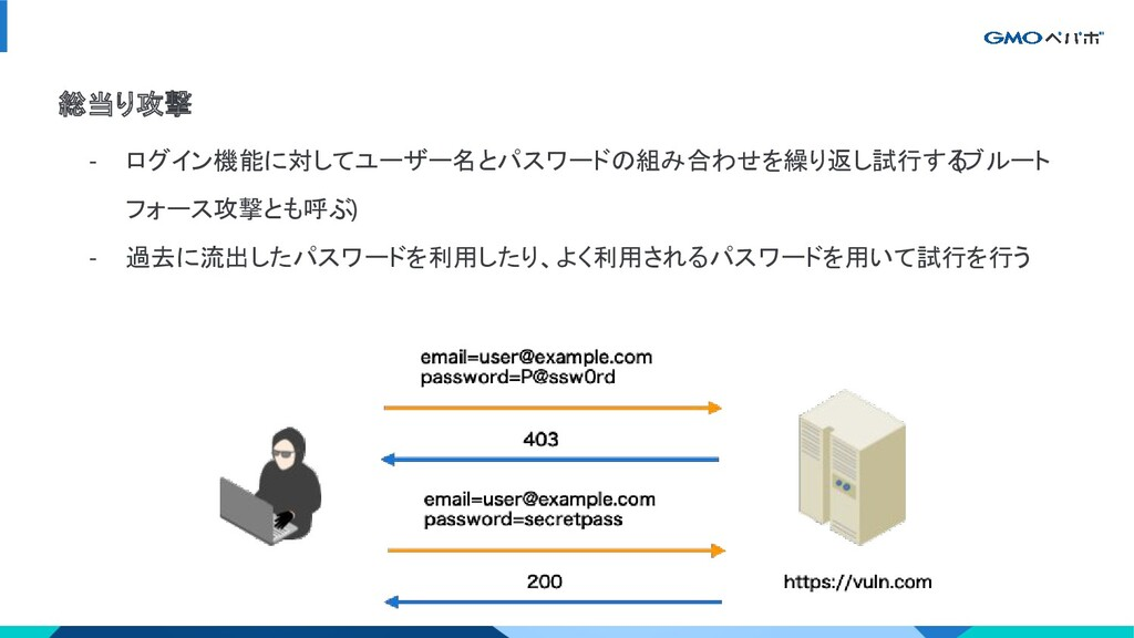 総当り攻撃 - ログイン機能に対してユーザー名とパスワードの組み合わせを繰り返し試行する (ブ...