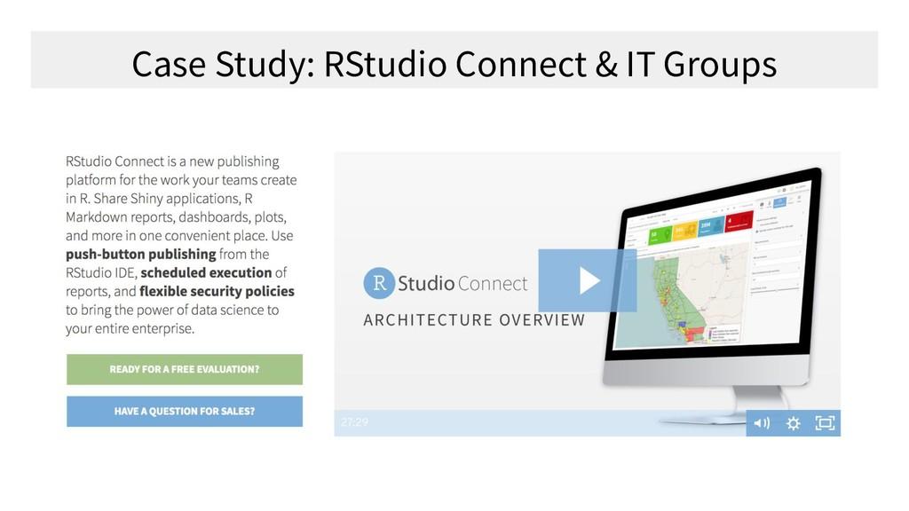 Case Study: RStudio Connect & IT Groups