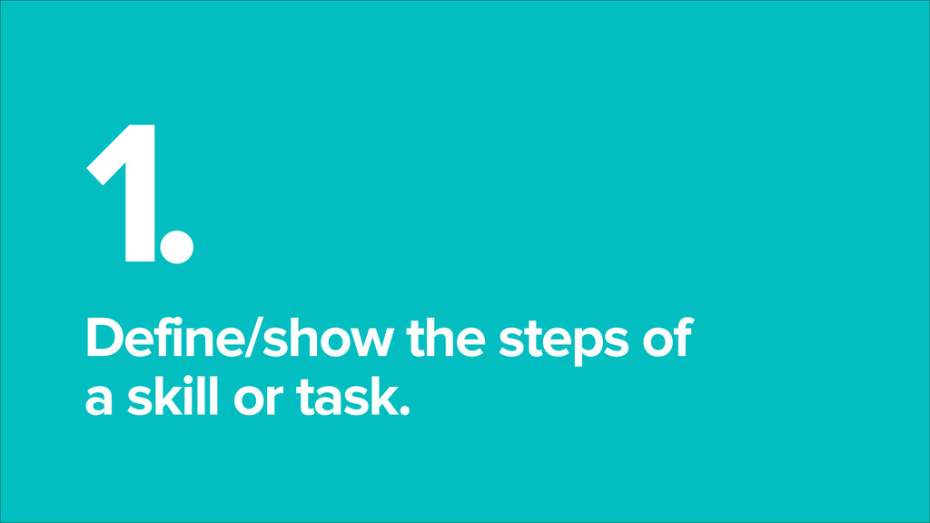 1. Define/show the steps of a skill or task.