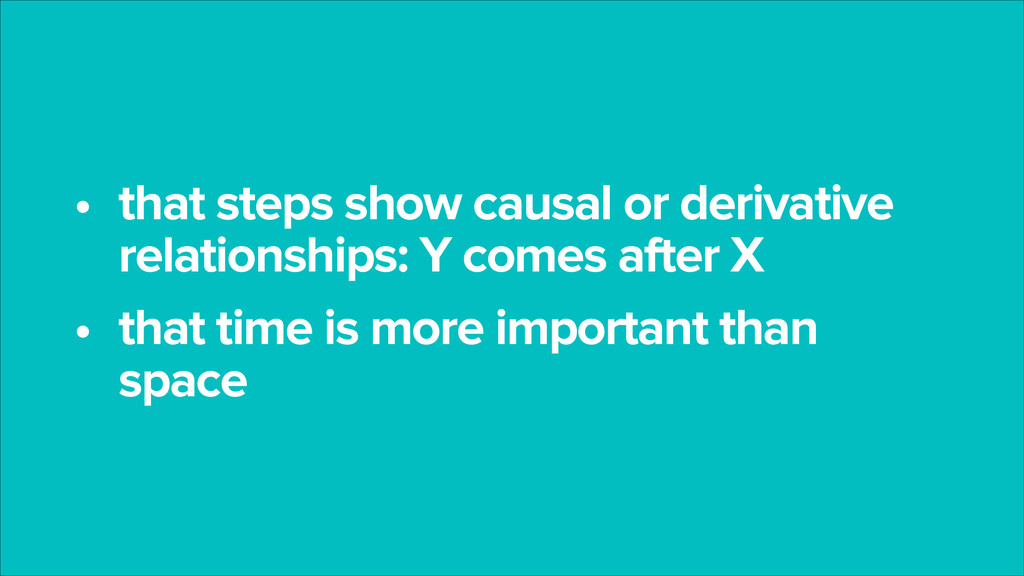 • that steps show causal or derivative relation...