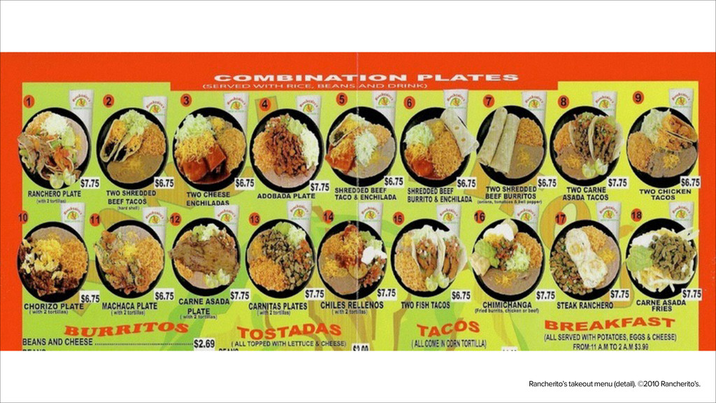 Rancherito's takeout menu (detail). ©2010 Ranch...
