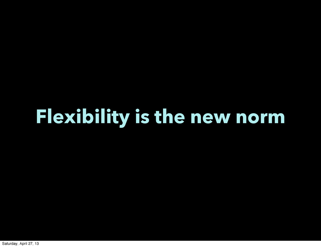 Flexibility is the new norm Saturday, April 27,...