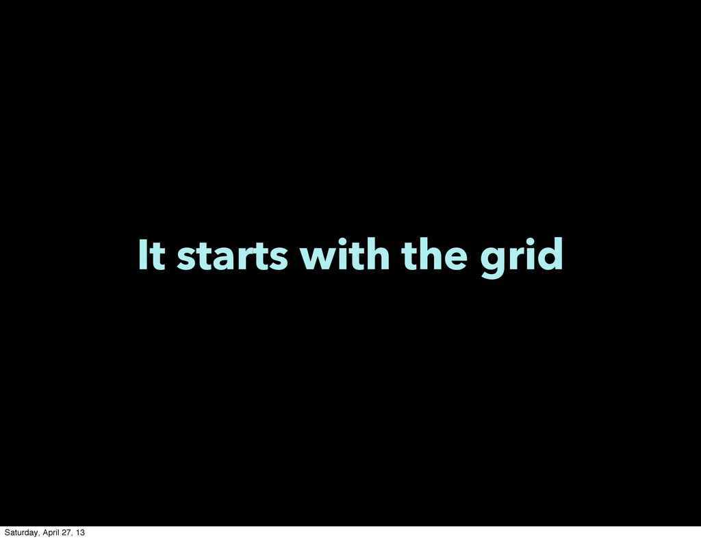 It starts with the grid Saturday, April 27, 13