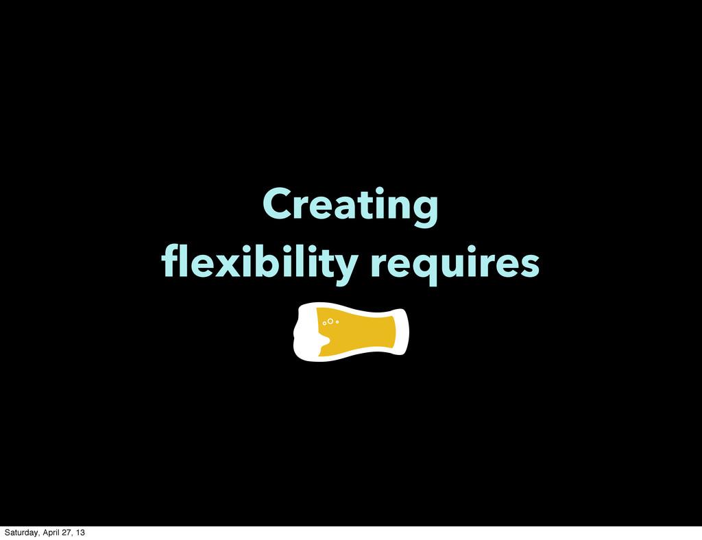 Creating flexibility requires Saturday, April 2...
