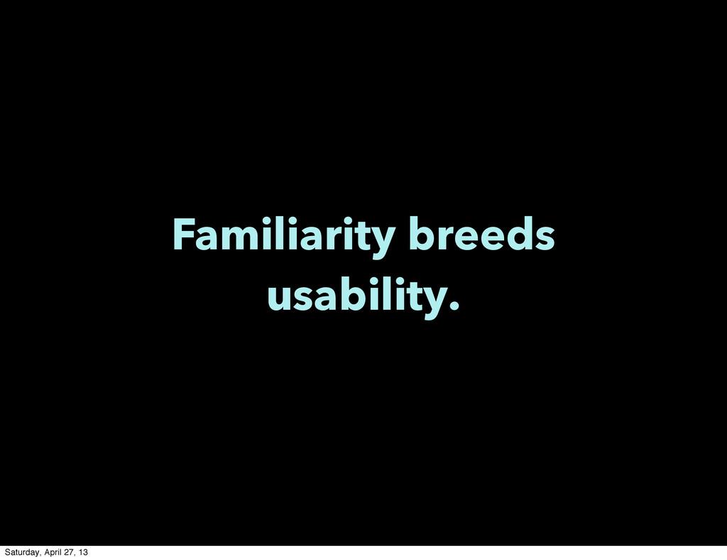 Familiarity breeds usability. Saturday, April 2...