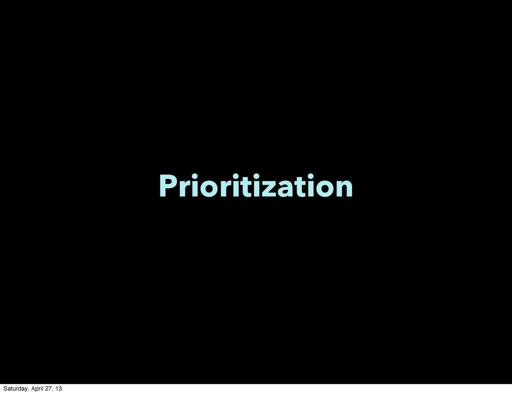 Prioritization Saturday, April 27, 13