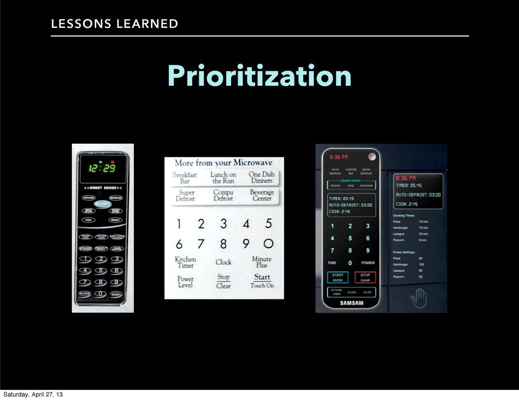LESSONS LEARNED Prioritization Saturday, April ...