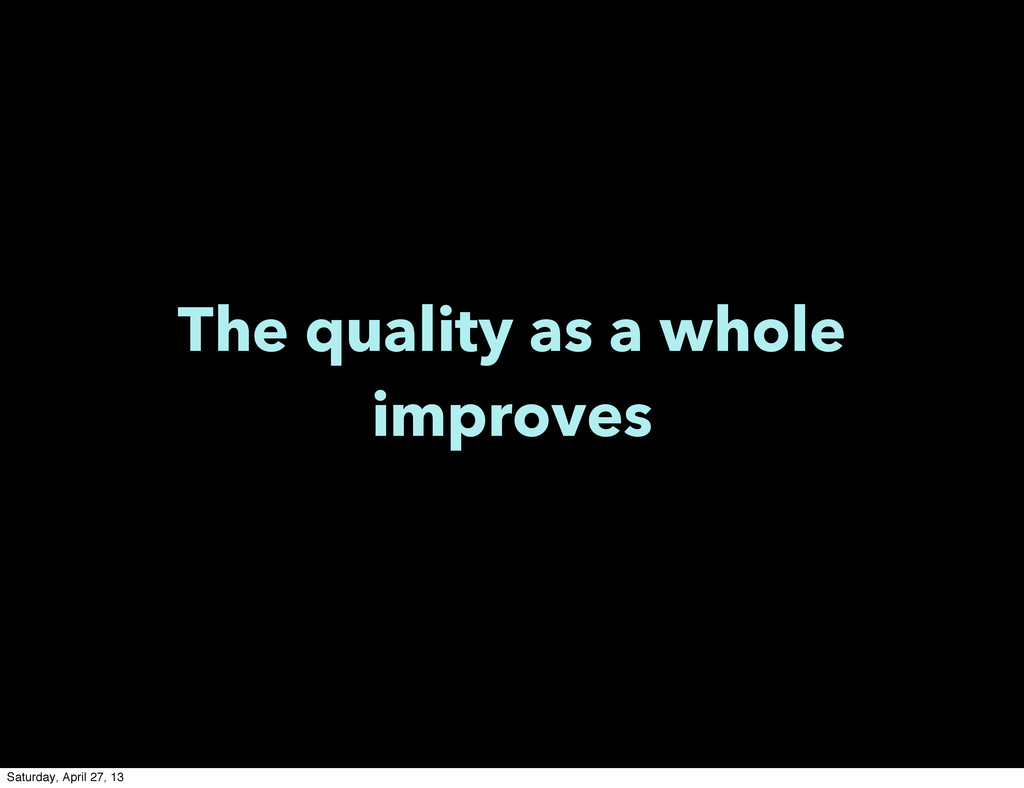 The quality as a whole improves Saturday, April...