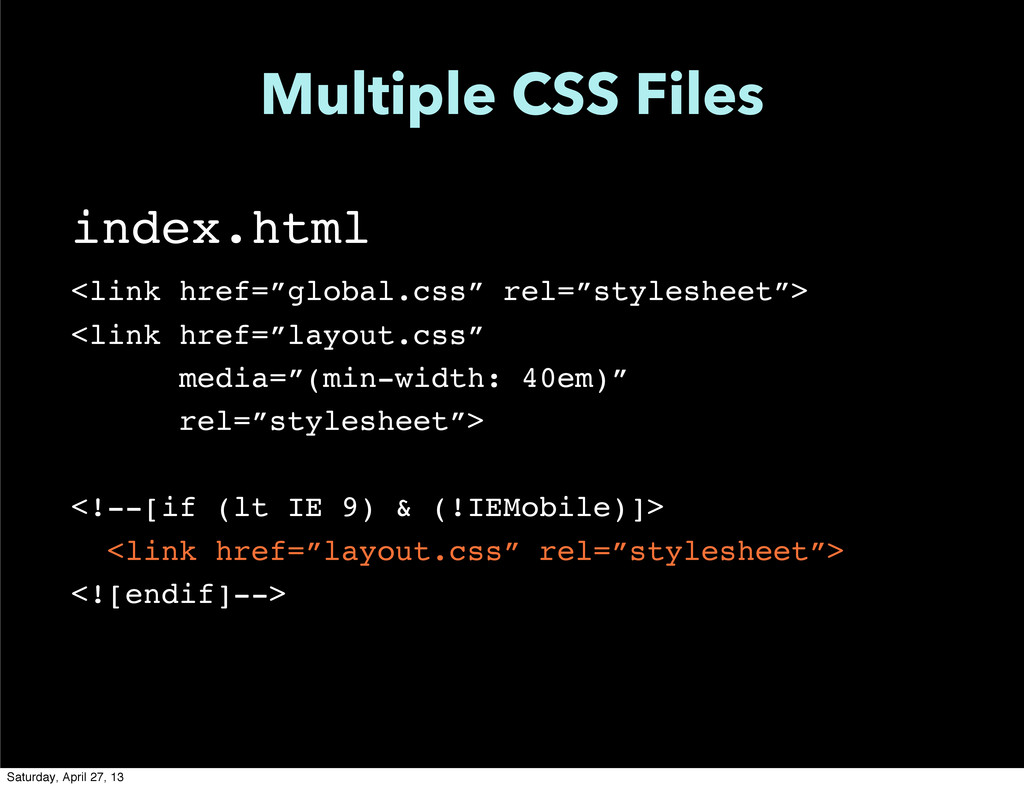 """Multiple CSS Files index.html <link href=""""globa..."""