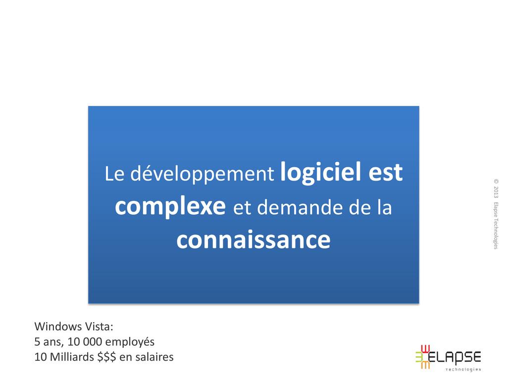 © 2013 Elapse Technologies Le développement log...