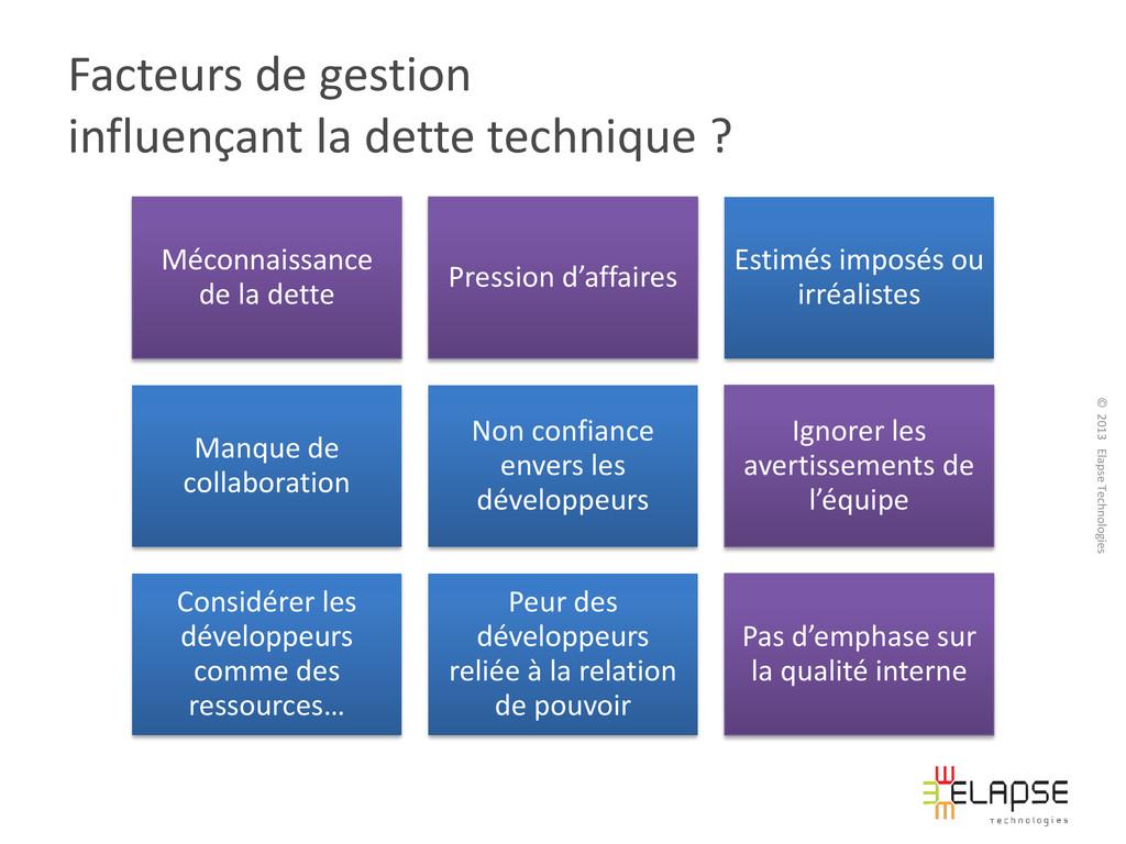 © 2013 Elapse Technologies Facteurs de gestion ...
