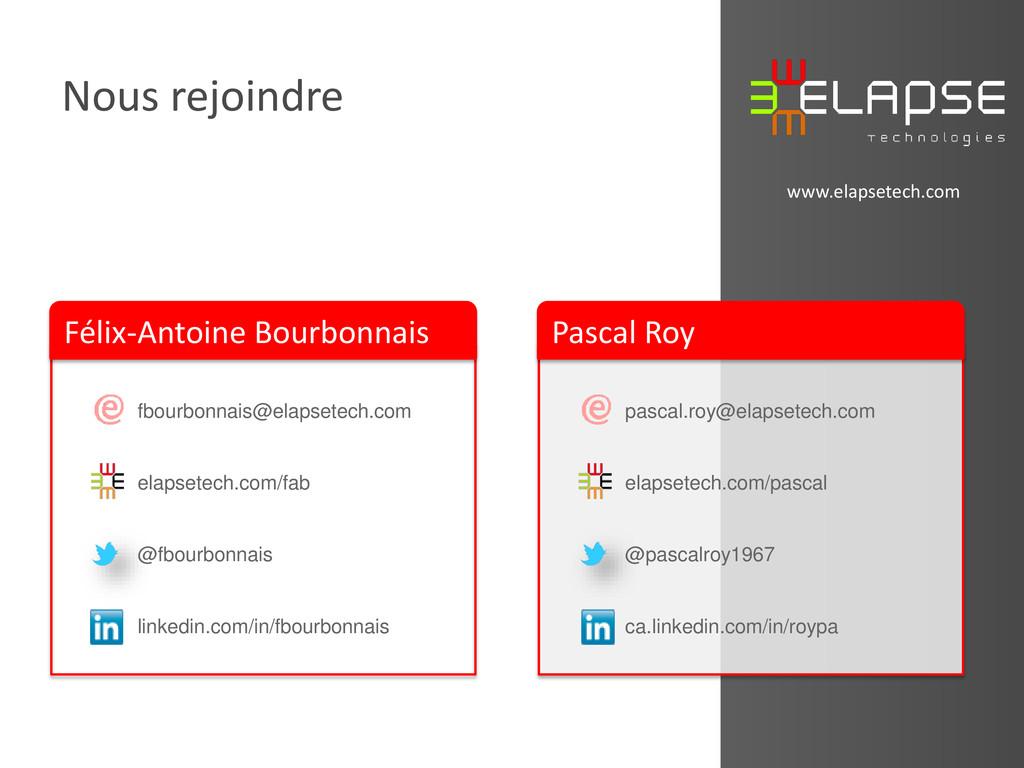 © 2013 Elapse Technologies Nous rejoindre www.e...