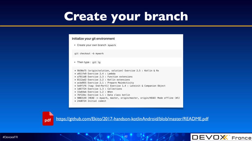 #DevoxxFR 42 Create your branch https://github....
