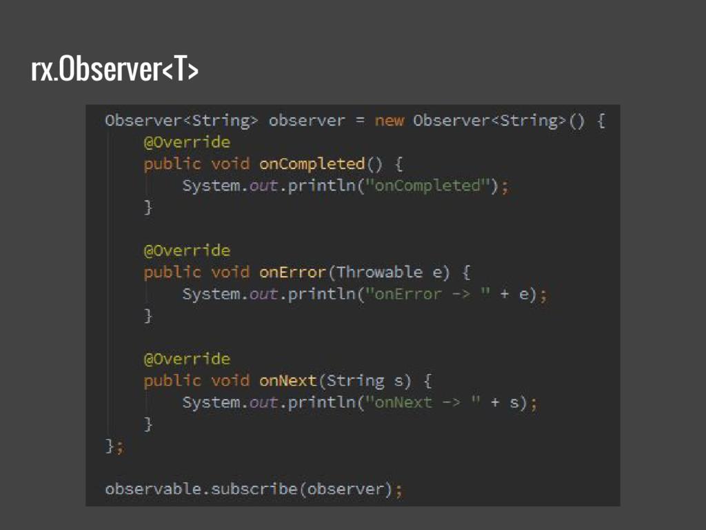 rx.Observer<T>