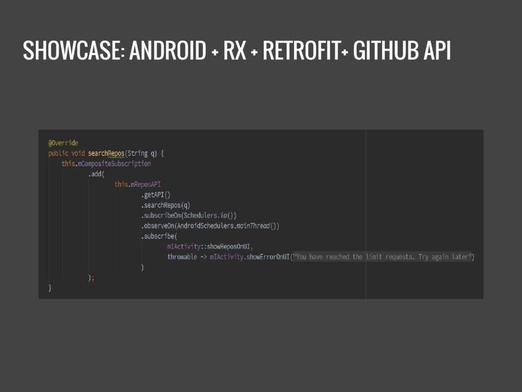 SHOWCASE: ANDROID + RX + RETROFIT+ GITHUB API