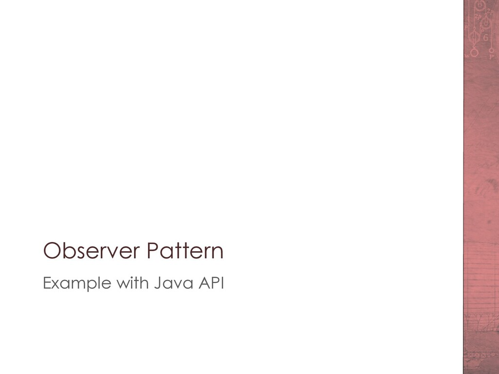 Observer Pattern Example with Java API