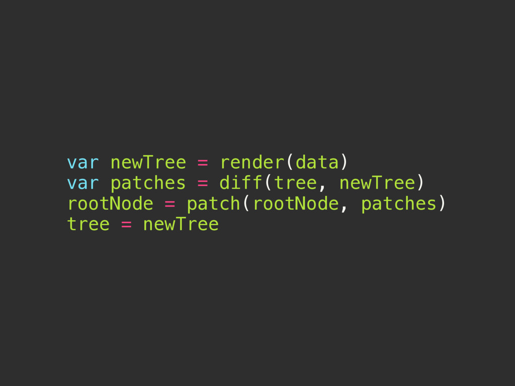 var newTree = render(data) var patches = diff(t...