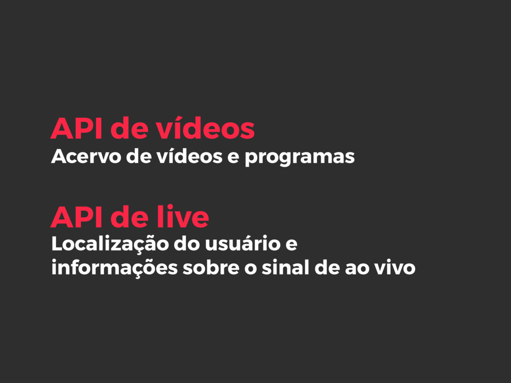 Acervo de vídeos e programas API de vídeos Loca...
