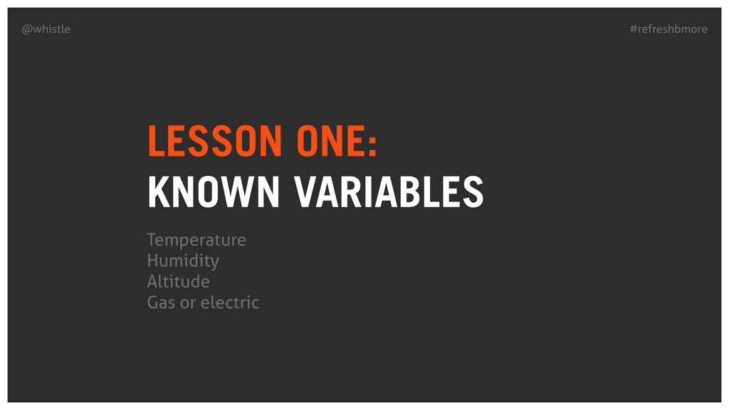 #refreshbmore @whistle LESSON ONE: KNOWN VARIA...