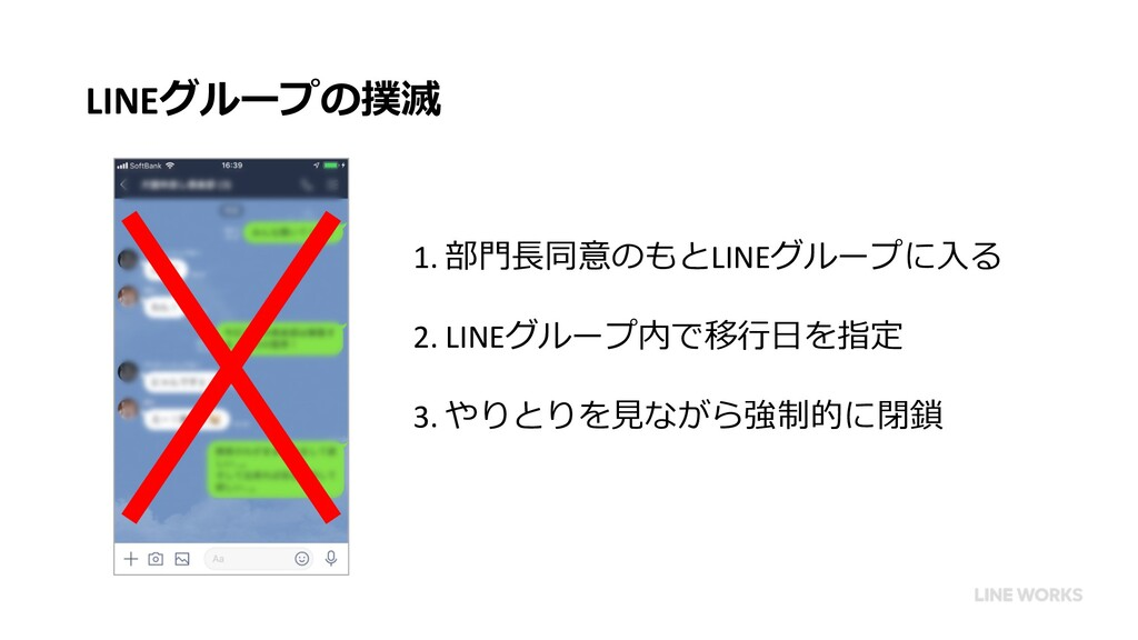 LINEグループの撲滅 1. 部⾨⻑同意のもとLINEグループに⼊る 2. LINEグループ内...