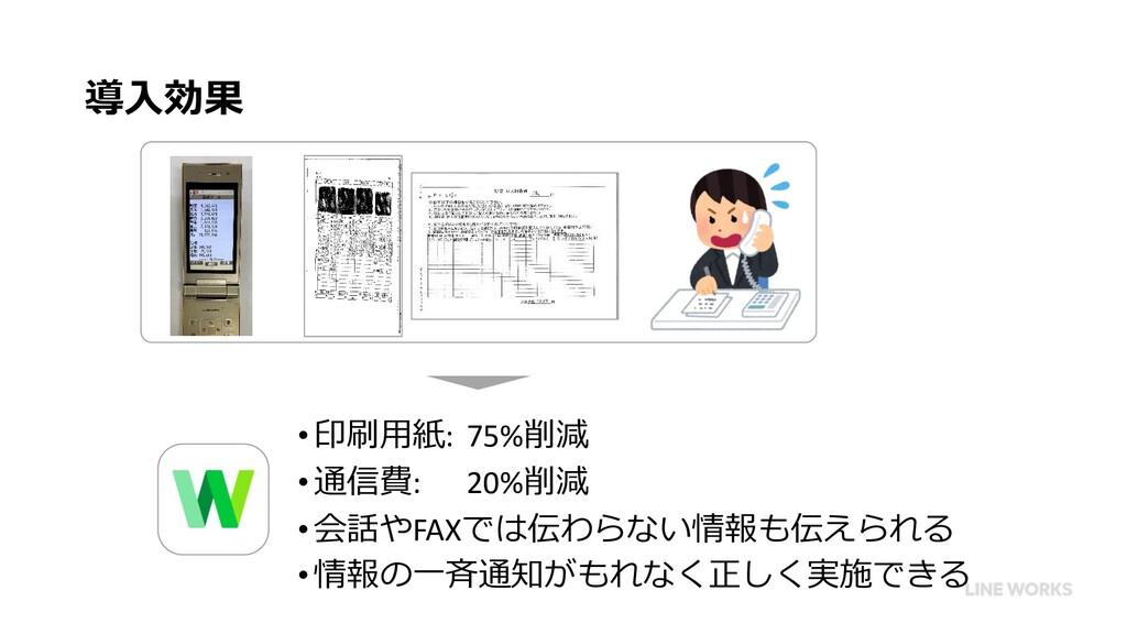 導⼊効果 •印刷⽤紙: 75%削減 •通信費: 20%削減 •会話やFAXでは伝わらない情報も...