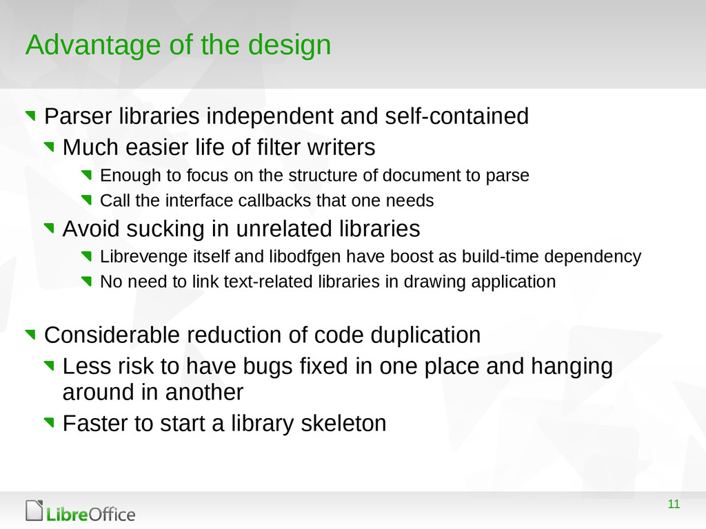 11 Advantage of the design Parser libraries ind...