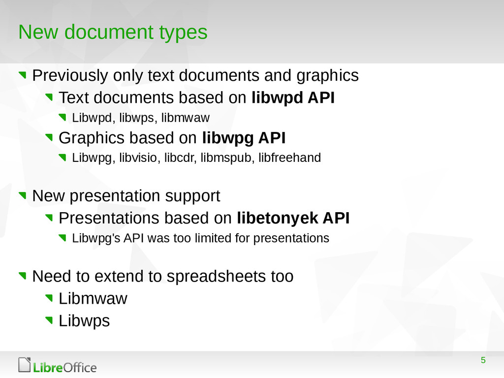 5 New document types Previously only text docum...