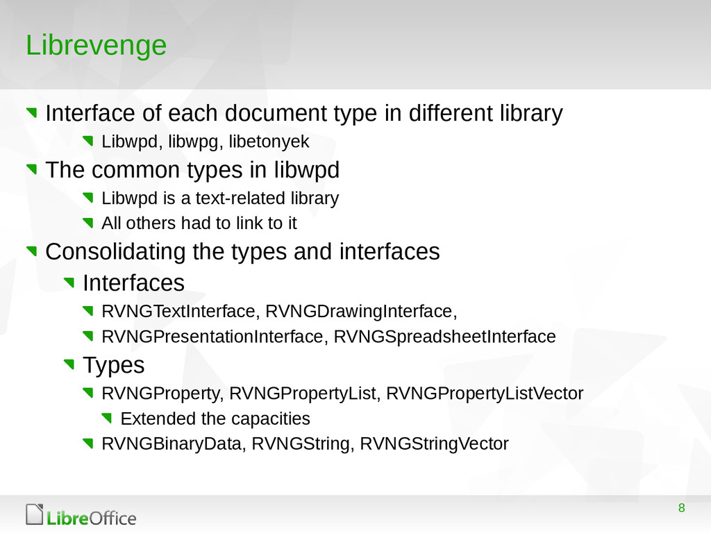 8 Librevenge Interface of each document type in...