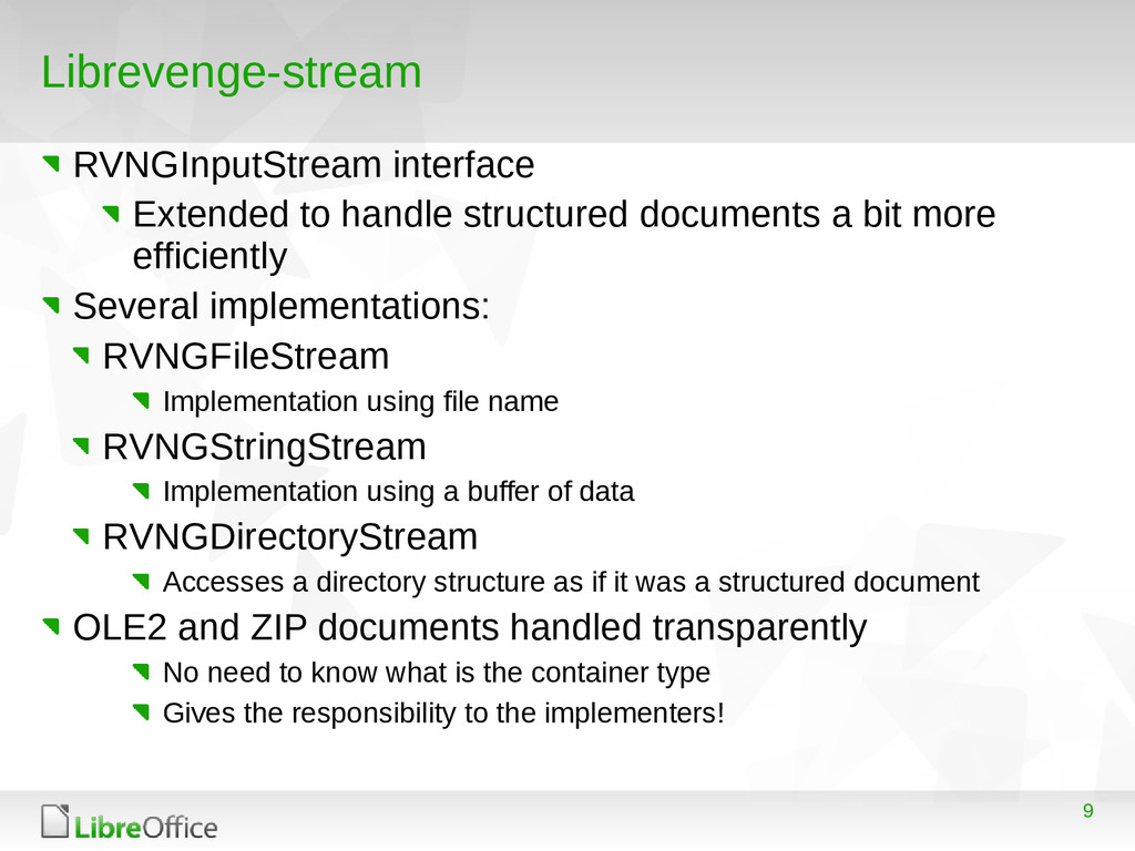 9 Librevenge-stream RVNGInputStream interface E...