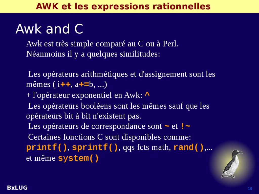 BxLUG 19 AWK et les expressions rationnelles Aw...