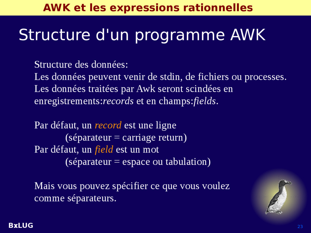 BxLUG 23 AWK et les expressions rationnelles St...