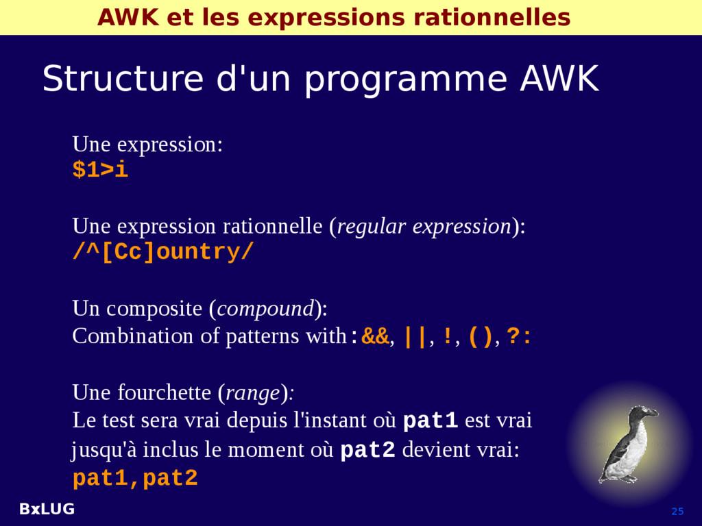 BxLUG 25 AWK et les expressions rationnelles St...