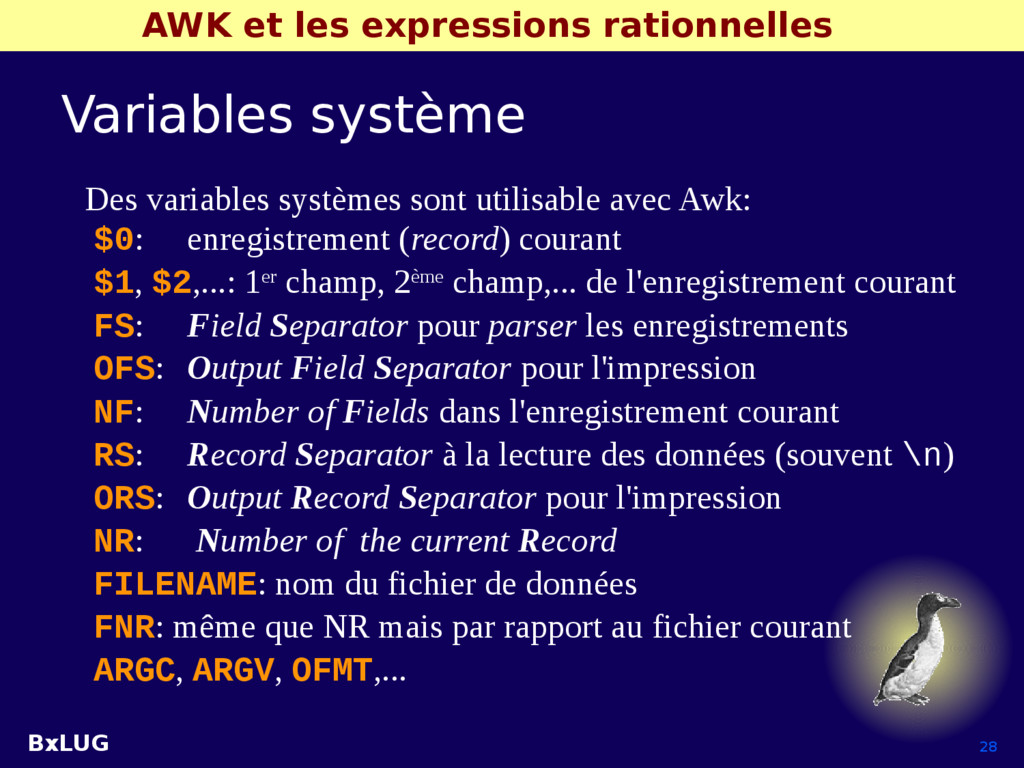 BxLUG 28 AWK et les expressions rationnelles Va...
