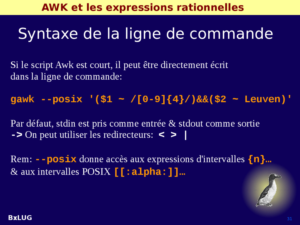 BxLUG 31 AWK et les expressions rationnelles Sy...
