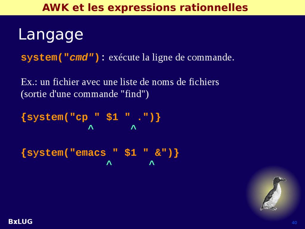 BxLUG 40 AWK et les expressions rationnelles La...