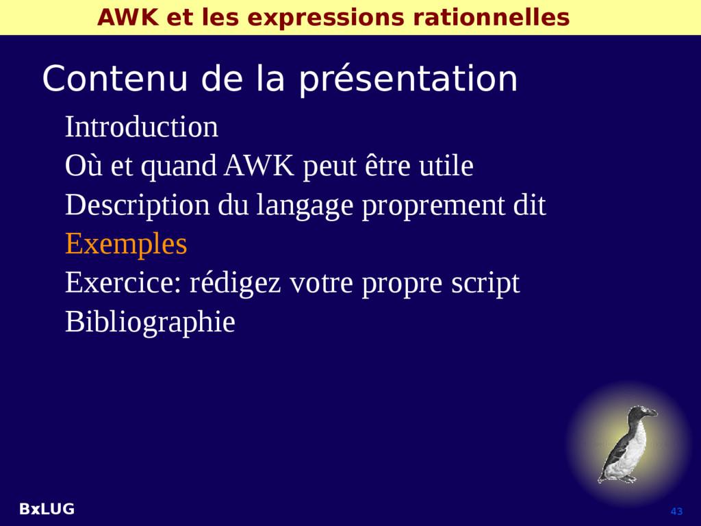 BxLUG 43 AWK et les expressions rationnelles Co...