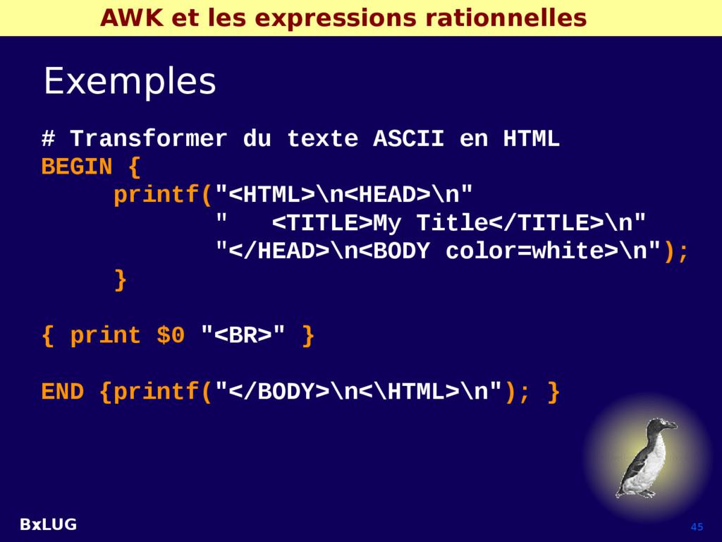 BxLUG 45 AWK et les expressions rationnelles Ex...