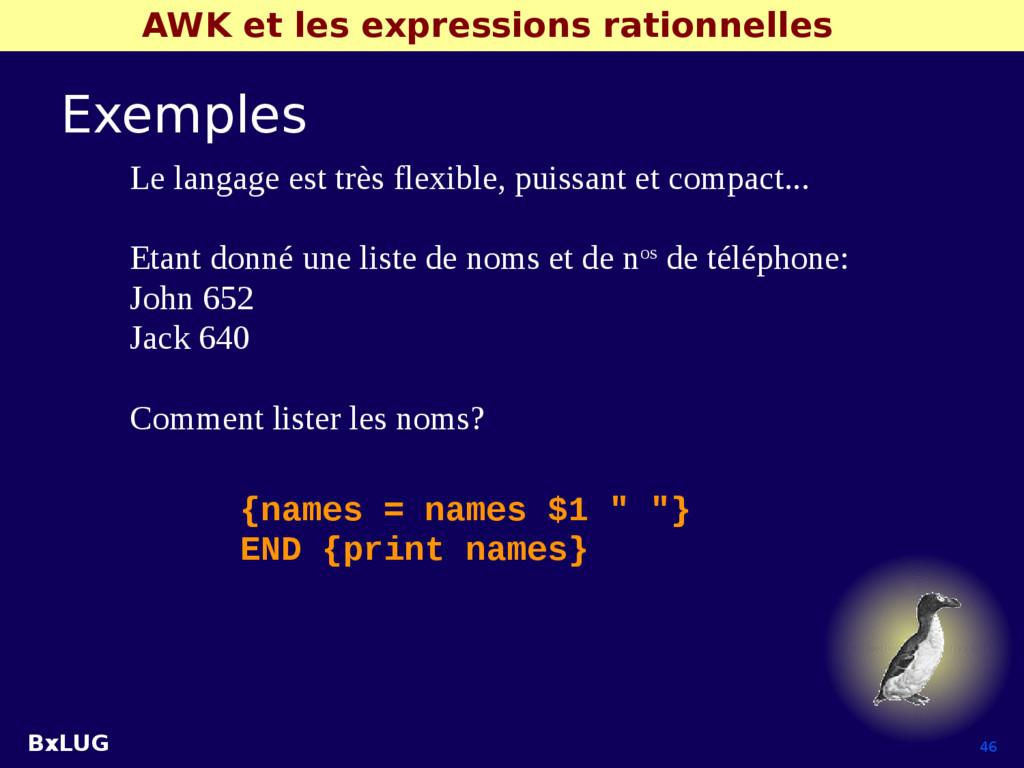 BxLUG 46 AWK et les expressions rationnelles Ex...