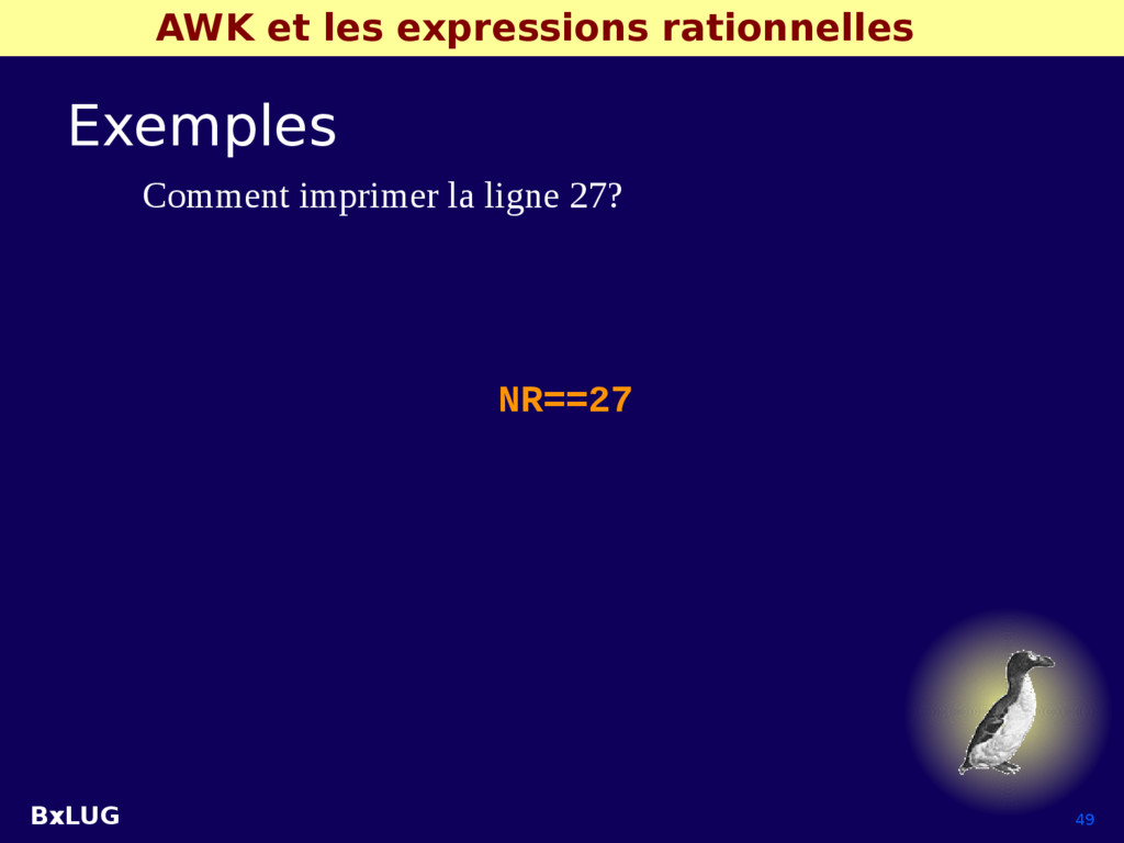 BxLUG 49 AWK et les expressions rationnelles Ex...