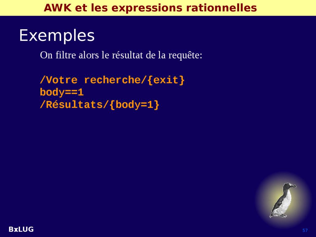 BxLUG 57 AWK et les expressions rationnelles Ex...