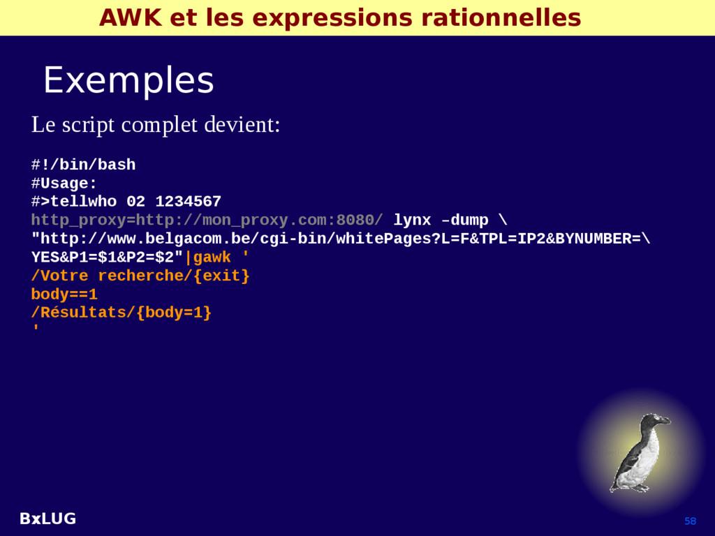 BxLUG 58 AWK et les expressions rationnelles Ex...