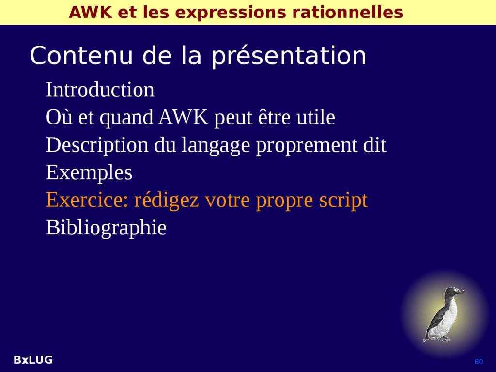 BxLUG 60 AWK et les expressions rationnelles Co...
